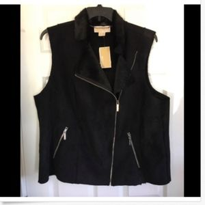 NWT Michael Kors Basics Black Faux Fur Vest 16W
